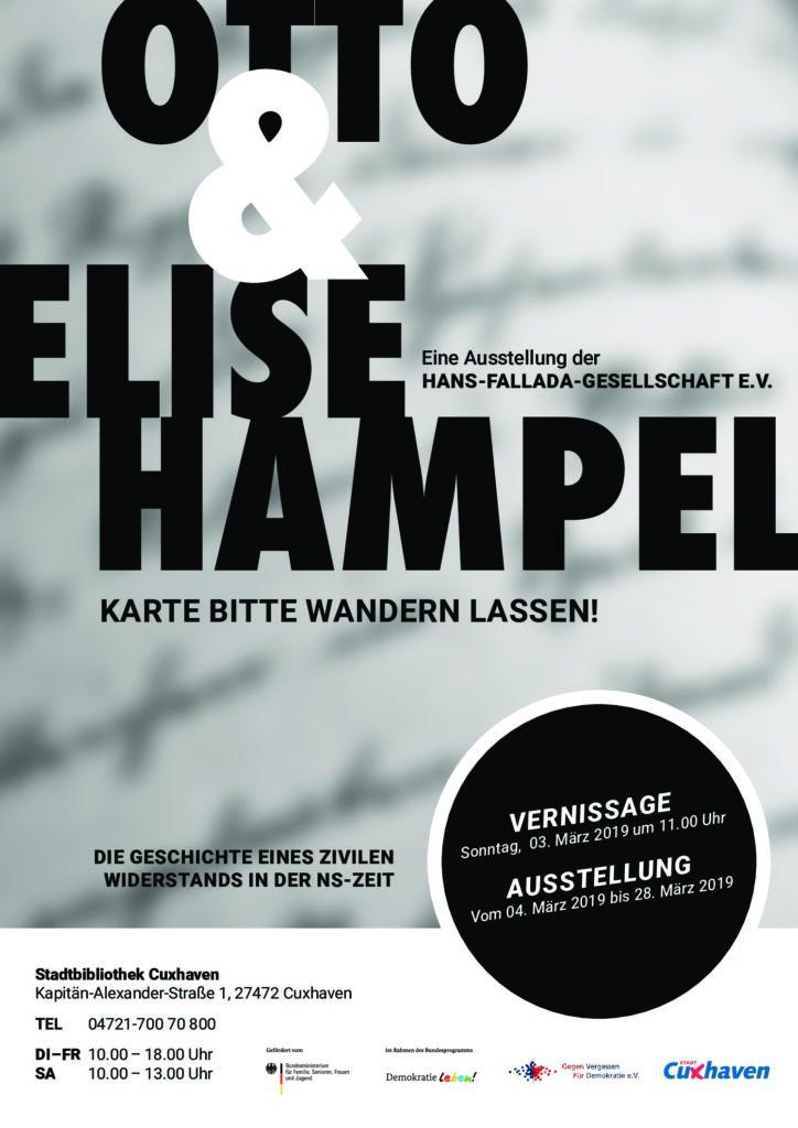 """Ausstellungsplakat zu """"Otto und Elise Hampel - Karte bitte wandern lassen!"""" in der Stadtbibliothek Cuxhaven 2019"""