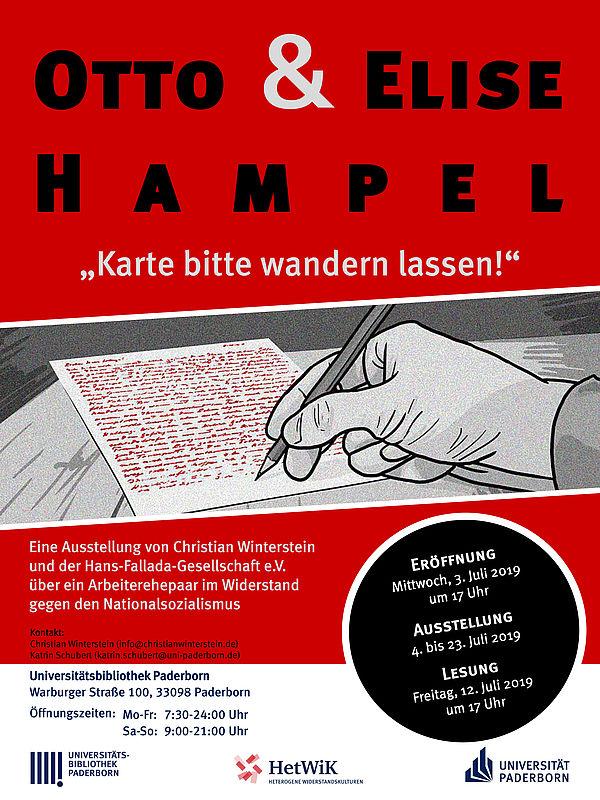 """Ausstellungsplakat zu """"Otto und Elise Hampel - Karte bitte wandern lassen!"""" in der Universitätsbibliothek Paderborn 2019"""
